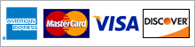 VISA, MaterCard, AmericanExpress and Discover accepted